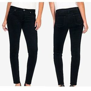 Kut from the Kloth Diana black velvet skinny jeans